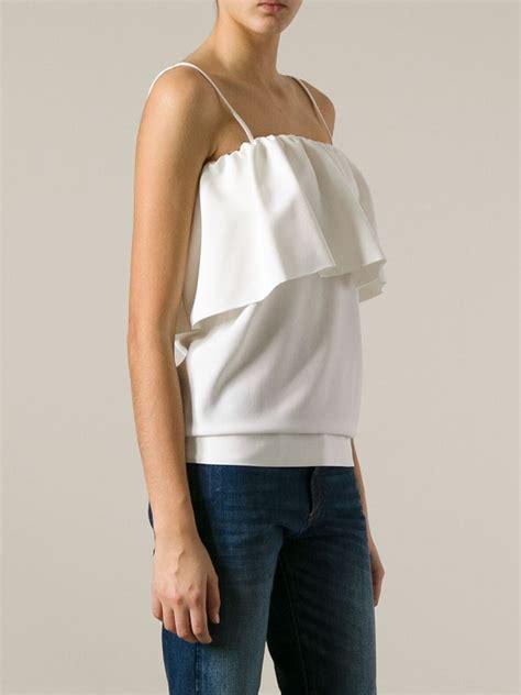 spaghetti blouse msgm layered spaghetti blouse in white lyst