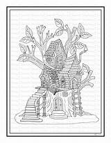Coloring Treehouse Fairy Printable Colouring Adult Fantasy Colorwithsteph sketch template