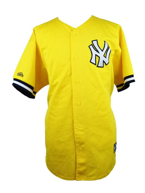 vintage  york yankees yellow majestic baseball jersey