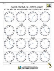 Telling Time Worksheet Clock Worksheets To 1 Minute
