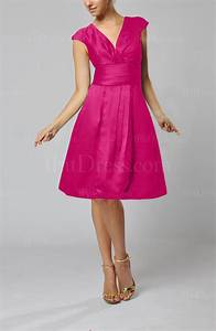hot pink modest v neck short sleeve backless taffeta knee With backless wedding guest dresses
