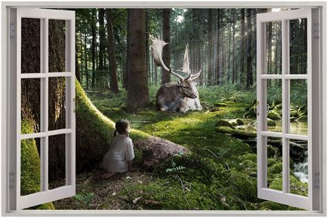 huge  window view enchanted forest wall sticker mural
