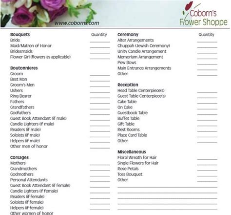 wedding ceremony checklist steps    florist