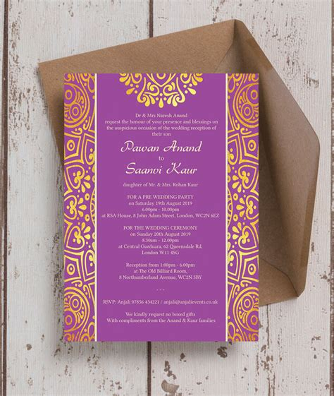 Purple Mandala Indian / Asian Wedding Invitation from £0