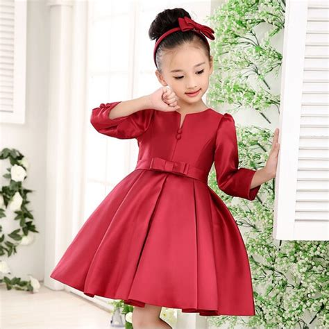 Girls Christmas Dresses 2016 New Arrival Girlu0026#39;s Bow Button Red Birthday Party TUTU Dress8 11Y ...