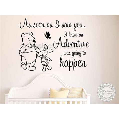 winnie the pooh and piglet nursery wall sticker as soon as i saw you adventure quote decor decal
