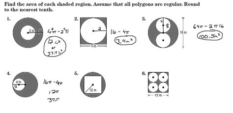 finding areas of shaded regions between polygons circles