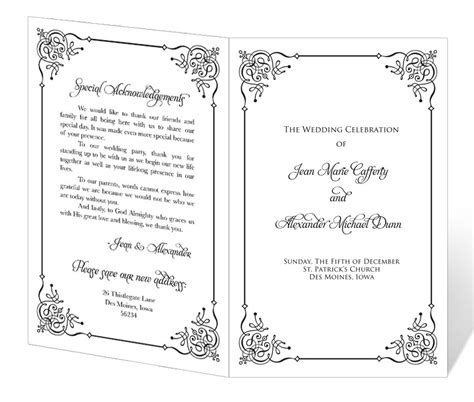 instant  wedding program template flourish  lucy