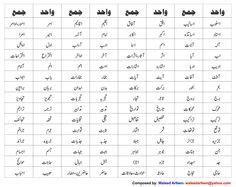 wahid jama  urdu singular plural  urdu plurals