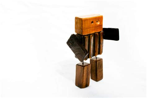 spare wood  stunningly cute wooden robots