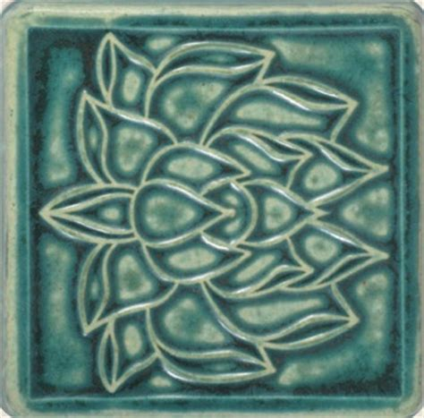 pewabic pottery 4x4 lotus tile pewabic pottery detroit michigan