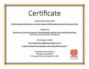 human aspects of information security privacy and trust best paper award hci international 2015 With award certificate paper