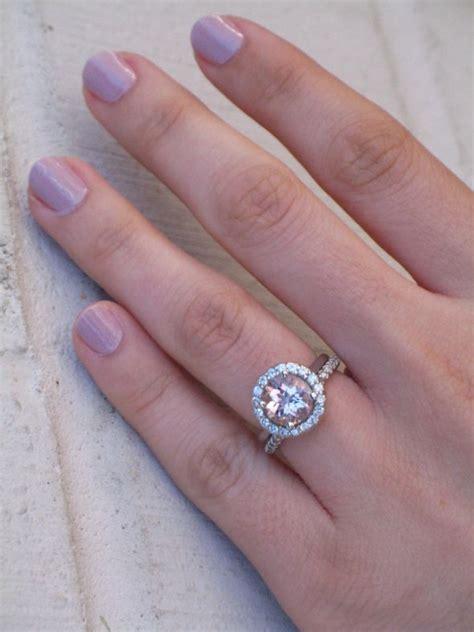 moonadea s morganite and moissanite halo ring weddingbee