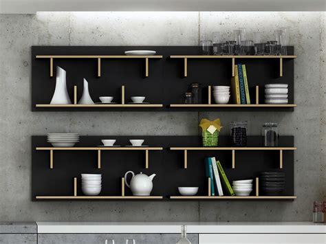 cuisine etagere murale etagère murale design en bois 2 niveaux bern noir 90