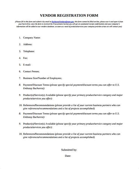 sle vendor registration form 8 documents in word pdf