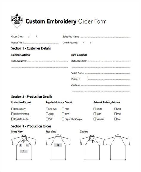 custom order form  sample  format