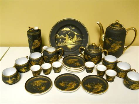 Shuzan Fukiyaki Japanese Black Gilded Gold Porcelain Mt