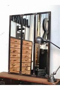 Deco Industrielle Atelier : miroir style atelier artiste verriere industrielle decoration loft maison chic meubles ~ Teatrodelosmanantiales.com Idées de Décoration