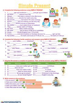 english exercises daily routines present simple
