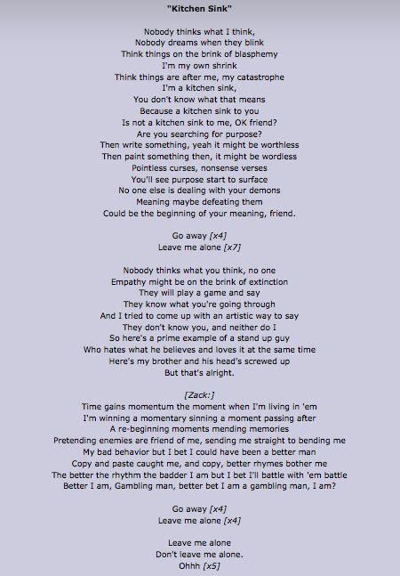 Kitchen Lyrics by Kitchen Sink Lyrics I These Lyrics Twenty One