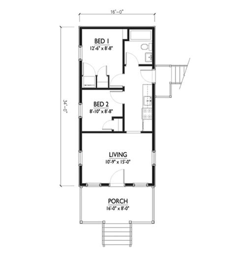 houses and floor plans cottage style house plan 2 beds 1 baths 544 sq ft plan