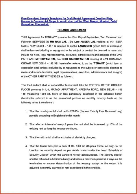 rent agreement template india sampletemplatess