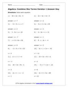 combine like terms worksheet version 1 answer key