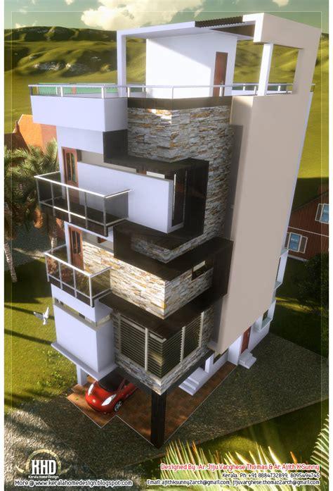 floor contemporary narrow home design kerala house design