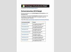 Schoolvakanties 2018 Belgie Exacte datums op kalender