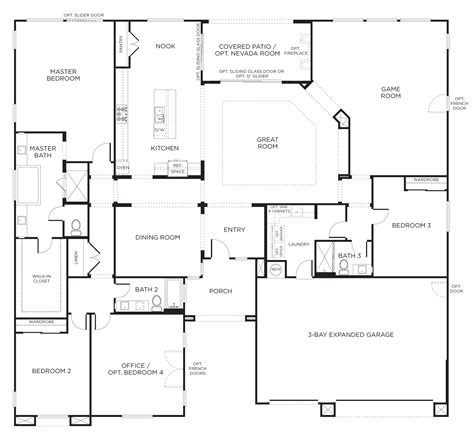 single level home designs floorplan 2 3 4 bedrooms 3 bathrooms 3400 square