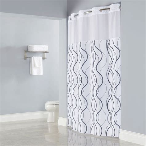 shower curtain grey hookless hbh49wav01sl77 white with gray waves shower