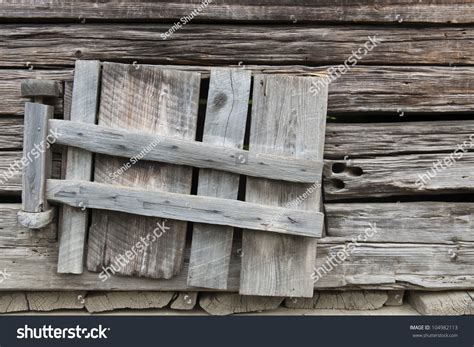 Weathered Old Wooden Shutters Window Abandoned Stock Photo