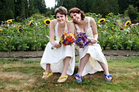 lesbian wedding laura  rachel  bicycle built