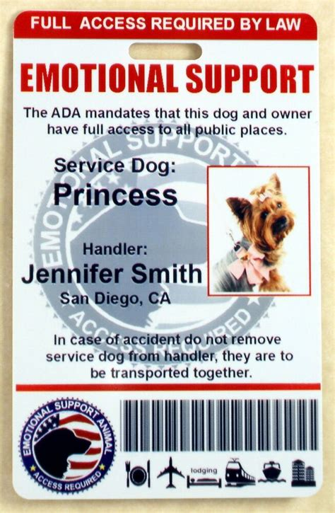 holographic emotional support dog id card  service dog