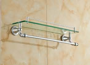 chrome polished bathroom glass shelf wall mount cosmetic holder with towel bar in bathroom