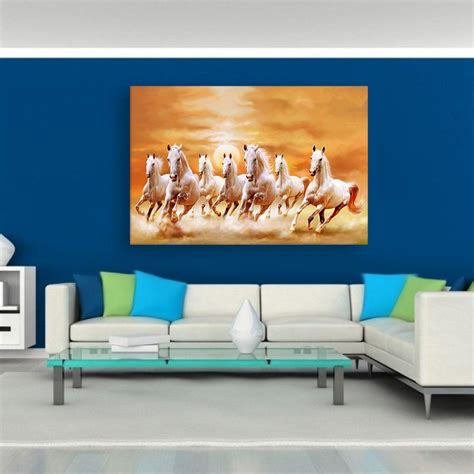 Painting Living Room Walls by Canvas Painting 7 Horses Running Vastu Wall Painting For