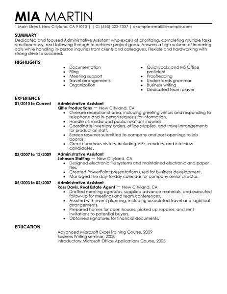 administrative assistant resume   admin