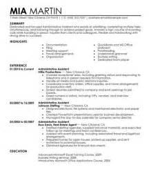 job resume templates 2015 administrator administrative assistant resume exle free admin sle resumes livecareer