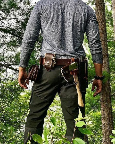bushcraft survival gear belt kit leather wilderness edc pouch carry camping possibles woodsman tools equipment saw fire silky axe skills