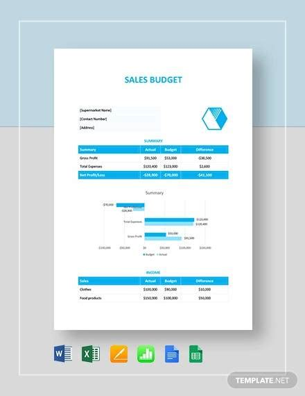 sales budget samples  google docs google