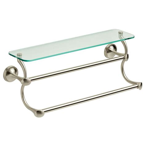 Bathroom Shelf With Towel Bar Brushed Nickel by Delta 18 In Glass Bathroom Shelf With Towel Bar In