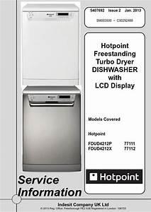 Hotpoint Fdud 4212 P Fdud 4212 X Dishwasher Service Manual