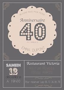 Faire Part Anniversaire 50 Ans : best 25 invitation anniversaire 40 ans ideas only on ~ Edinachiropracticcenter.com Idées de Décoration