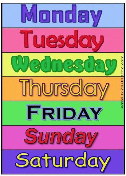 Days Week Flash Cards Number Monday Sunday