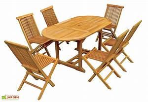 Table De Jardin Ovale : salon de jardin teck table ovale 120 170 cm 6 chaises ~ Teatrodelosmanantiales.com Idées de Décoration