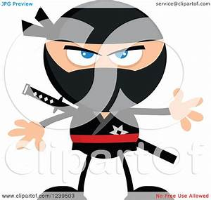 Clipart of a Mad Ninja Warrior - Royalty Free Vector ...
