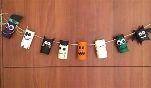 Especial de halloween: banner con rollos/tubos de papel reciclados para decorar la puerta DIY