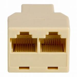 Rj45 1x2 Ethernet Connector Splitter 1 To 2 Sockets