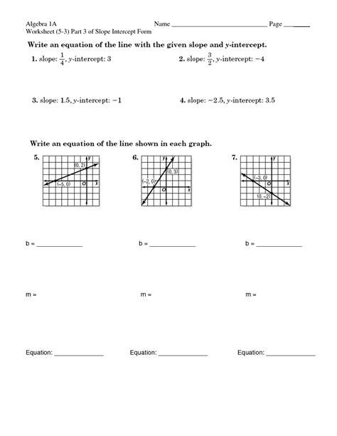 images  slope intercept form worksheets slope