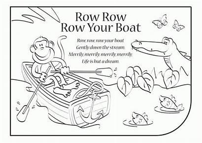 Coloring Row Boat Lyrics Rhymes Popular Songs